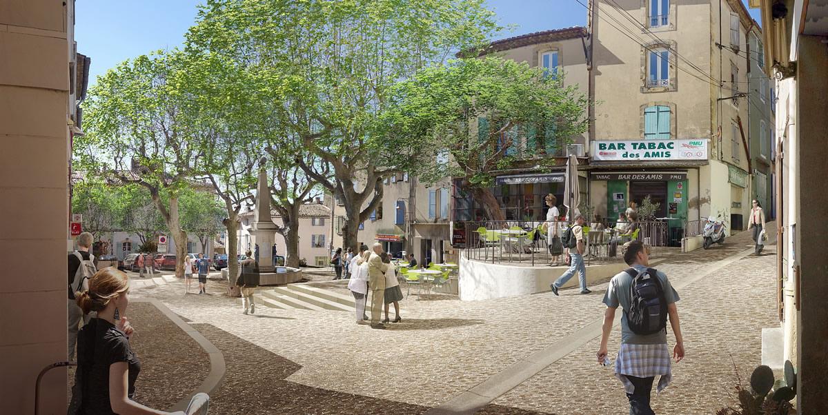 Espaces publics de la ville de cadenet l 39 agence aps laur ate for Agence aps paysage